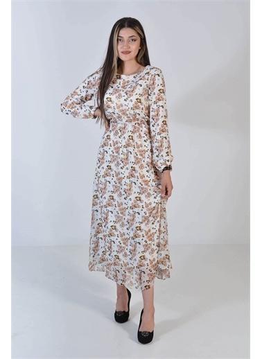 Zeren Kadın Ekru Çiçek Desenli Oval Yaka Elbise Ekru